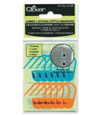Clover Jumbo Locking Stitch Markers (3109) - zárható szemjelölők vastag fonalhoz