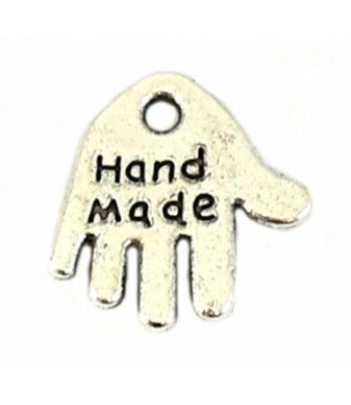Handmade feliratú fém felvarró, charm