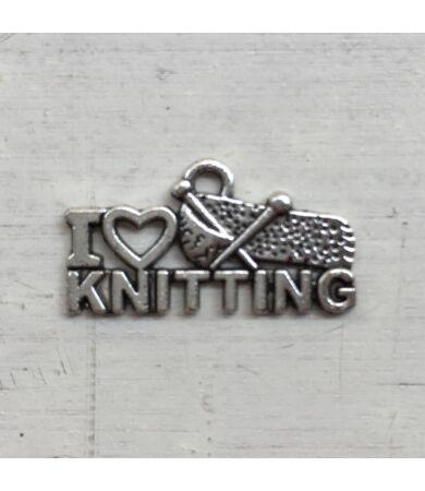 I Love Knitting fém felvarró, charm