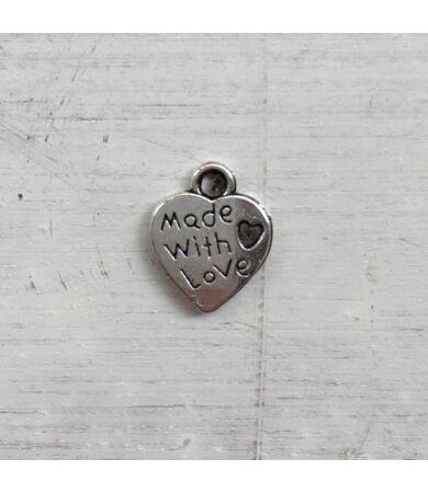 Made with Love szív alakú fém felvarró, charm