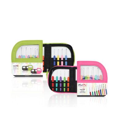 Knit Pro Waves 9 db-os horgolótű szett tokkal - pink