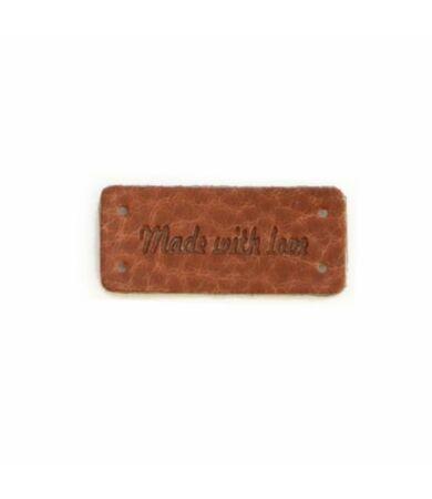 bőr felvarró címke made with love felirattal