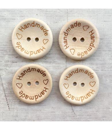 Nagy fa gomb - barna - Handmade felirattal