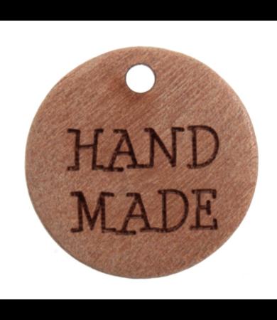 Hand made feliratú felvarrható fa gomb