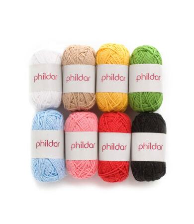 Phildar pamut fonal - 8 darabos csomag - élénk