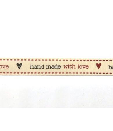 hand made with lover feliratos dekor szalag